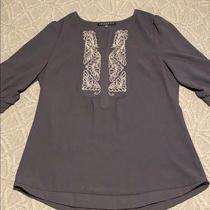 Gray shirt with metallic detail, size medium